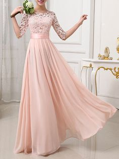 Shop Elegant Dresses - Pink 3/4 Sleeve Crew Neck Guipure Polyester Party Dress online. Discover unique designers fashion at JustFashionNow.com.