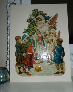 LARGE 1880's Antique VICTORIAN Christmas TREE German Angel Die Cut Toys Children