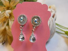 Clear Swarovski Crystal Drop Earrings by TheresACharm4That on Etsy, $12.00