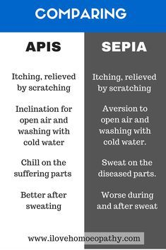 Comparison of Apis and Sepia #homeopathy