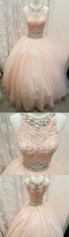 Light pink tulle ball gowns quinceanera dress,two piece quinceanera dresses,sweet 16 dresses,sweet 15 dresses