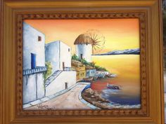 Santorini sunrise. Originally hand painted by Viktoriyasshop, $179.00