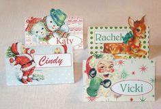 retro christmas place cards