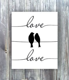 Printable art 8x10  Birds on a wire  Silhouette by myfavoritedecor, $5.00