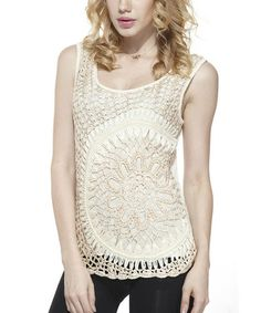 Look what I found on #zulily! Gold Floral Crochet Beaded Sleeveless Top - Women #zulilyfinds