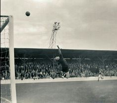 Notts County keeper James Linton in action back 1955