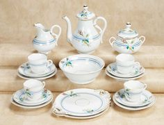 French Porcelain Rosebud Tea Service, circa 1885