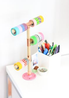 DIY Washi Tape Holder (click through for tutorial!)