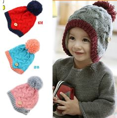 2014 winter fluwelen kinderen oor patroon breien hoed mutsen kindje oorklep cap(China (Mainland))