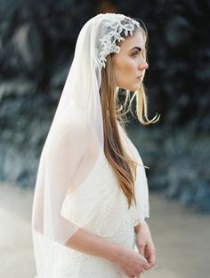 Cathedral Veil with Rhinestone Floral Beading by MelindaRoseDesign