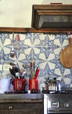 Beautiful Hand painted tiles and red accent