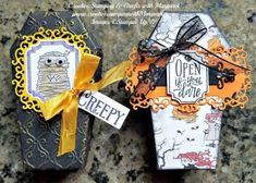 Halloween Treat Holders, Halloween Tags, Fall Craft Fairs, Fall Crafts, Halloween Coffin, 3d Projects, Big Shot, Casket, Thank You Gifts