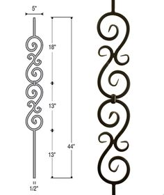 Double Scroll Iron Baluster 2583 Double Scroll Iron Baluster 2583 Direct Stair Parts directstairparts Products Part Number 2583 Height 44 8243 Ends nbsp hellip makeover videos Wrought Iron Stairs, Iron Stair Railing, Wrought Iron Decor, Iron Balusters, Iron Wall Decor, Window Grill Design Modern, House Window Design, Balcony Grill Design, Grill Door Design