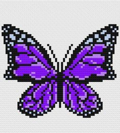 Butterfly Afghan Crochet Pattern Written Row by Row Butterfly Cross Stitch, Crochet Butterfly, Purple Butterfly, Butterfly Pattern, Hama Beads Patterns, Beading Patterns, Pixel Art, Black And White Words, C2c Crochet