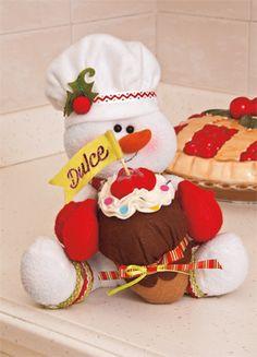 Mono de Nieve Cocinero,Revista kena la navidad. El detalle perfecto para decorar la cocina, realiza un lindo muñeco cocinero y deja que la alegria inunde tu cocina.
