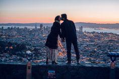 Jenifer and Bill's sunrise engagement session at twin peaks San Francisco, California. http://www.evangelinelane.com