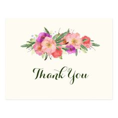 Shop Elegant Watercolor Floral Thank You Postcard created by HeartSongNotes.