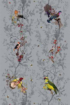 Timorous Beasties Fabric - Birds n Bees fabric Bee Fabric, Fabric Birds, Chair Fabric, Chair Upholstery, Bird Patterns, Fabric Patterns, Pattern Designs, Chinese Fabric, Monochrome
