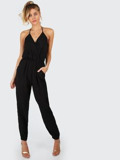 9aa868969411 Surplice Self Tie Halter Jumpsuit. Black Halter JumpsuitSleeveless ...
