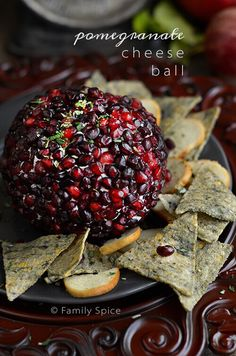 Pomegranate Cheese Ball with Garlic and Herbs Recipe #appetizer @familyspice