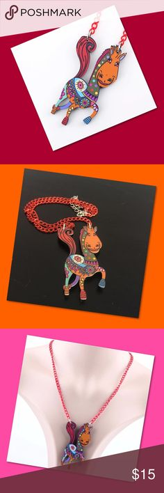 "Horsey Necklace A whimsical horse on a red orange chain. It will make your day so much brighter! For Women, teen, or child. Yee haw! Acrylic and 16.53"" chain. The dangling horse is 2.63"" long and 1.57"" wide. Accessories Jewelry"