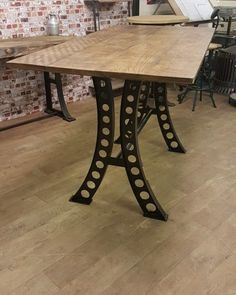 Industrial Poseur Table with Girder style table base and solid timber top. Industrial Table, Vintage Industrial, Wood And Metal, Tables, Dining Table, Chairs, Iron, Base, Patio