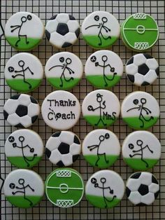 Soccer cookies You are in the right place about Soccer Cake drip Here we offer you the most beautifu Iced Cookies, Cute Cookies, Royal Icing Cookies, Cookies Et Biscuits, Cupcake Cookies, Sugar Cookies, Birthday Cookies, Cupcake Toppers, Soccer Cookies