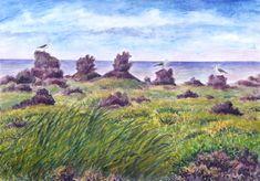 Jana Haasová – Surtsey - Island inspirující   2/2019   Heartcore/Srdcaři Volcanoes, Watercolor Landscape, Paintings, Island, Drawings, Plants, Songs, Trees, Art