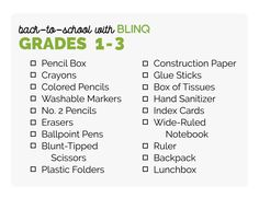 61c2c70d80f Back to School Shopping List for 1st grade, 2nd grade, and 3rd grade Back