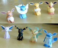 Here are Eevee Evolution Papercrafts, based on the anime/game Pokemon, the paper models are created by tenpepakura. Included in the set are Eevee, Vaporeon