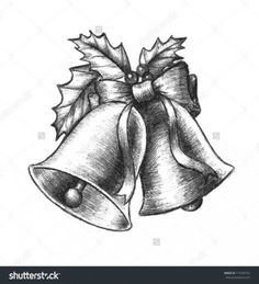 Beautiful silver Christmas bells with holly leaves and berries and a cute ribbon in a black and white hand drawn sketch design. Easy Pencil Drawings, Christmas Sketch, Christmas Tree Drawing, Easy Sketches, Christmas Bells, Christmas Art, Beautiful Christmas, Christmas Tattoo, Christmas Flowers