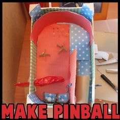 How to Make Simple Pinball Machine with Recycled Materials Crafts Project for Kids. Students could make a pinball machine by using simple machines to help create it Toilet Paper Roll Crafts, Paper Crafts For Kids, Easy Crafts For Kids, Fun Crafts, Kids Diy, Craft Projects For Kids, Craft Activities For Kids, Science Projects, Simple Machine Projects