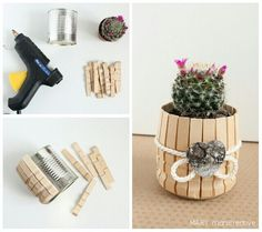 Cute little cactus pot DIY Home Crafts, Diy And Crafts, Crafts For Kids, Popsicle Stick Crafts, Craft Stick Crafts, Craft Sticks, Creation Deco, Diy Gifts, Craft Projects