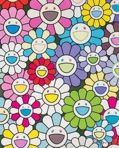 Available for sale from Heritage Auctions, Takashi Murakami, A Little Flower Painting: Yellow, White, and Purple Flowers Offset lithograph in color… Sad Wallpaper, Pattern Wallpaper, Happy Flowers, Purple Flowers, Takashi Murakami Art, Murakami Flower, Mini Canvas Art, Famous Art, High Art