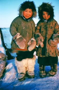 Caption: DeSalis Bay, 29 January 1958. Eskimo children: Joe and Annie Kudluk. Credit: R. Knights/NWT Archives (De Salis Bay is a Canadian Arctic waterway in the Northwest Territories)