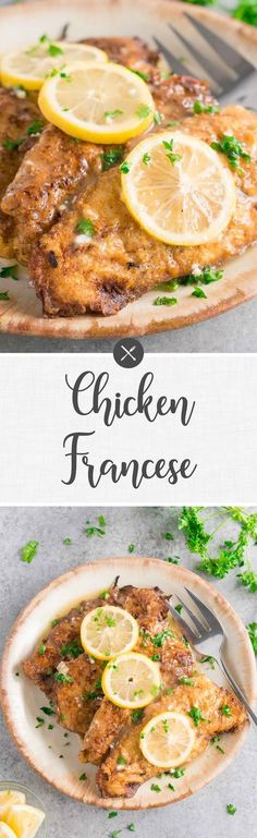 Chicken Francese - gourmet dinner made in about 30 minutes - perfect tasty & easy meal for busy weeknight dinners or meal prep. #weeknight #dinner #quickeasy #chickendinner #30minutes #onepan #easydinner #chickenrecipes Easy Weeknight Dinners, Quick Easy Meals, Easy Dinner Recipes, Weeknight Recipes, Dinner Ideas, Best Chicken Recipes, Turkey Recipes, Chicken Ideas, Chicken Francese Recipe