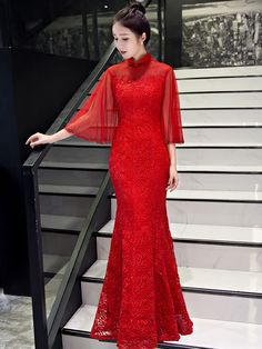 Red Lace Fishtail Qipao / Cheongsam Wedding Dress with Angel Sleeve