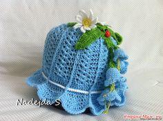 How to DIY Pretty Crochet Girls Bluebell Beanie Hat | www.FabArtDIY.com