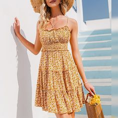 Color: Yellow Style: Beach Style Material: Viscose Pattern Type: Print The post Floral print open back High waist ruffle short dress appeared first on Power Day Sale. Yellow Style, Color Yellow, Yellow Fashion, Fashion Colours, Ruffle Shorts, High Waist, Summer Outfits, Short Dresses, Floral Prints