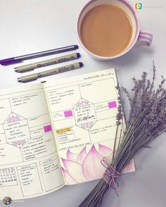 Coffee, bujo and lavender for a Monday morning. Lovely. From @tinarago