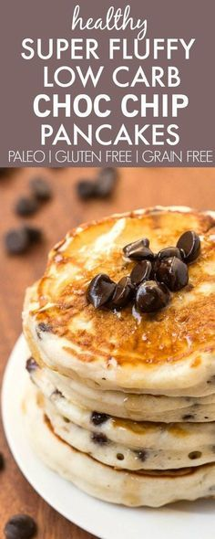 Healthy Thick and Fluffy Low Carb Pancakes with chocolate chips- Packed with protein but with NO protein powder- Low calorie too! {vegan, gluten free, paleo recipe}- http://thebigmansworld.com
