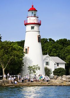 Lighthouse Marblehead,Ohio.you can see all the rollercoasters and rides at cedar pointe while you are at the state park where this lighthouse sits.