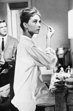 Audrey at Dressing Table in Film, Breakfast at Tiffany's / Paris, Prada, Pearls, Perfume
