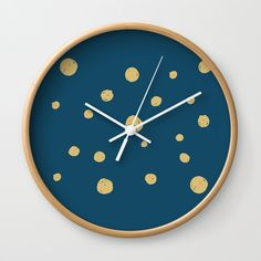 Hand Drawn Circles on Dark Blue Wall Clock by diana_ioana Blue Wall Clocks, Wall Clock Hands, Dark Blue Walls, Hand Coloring, Natural Wood, Cool Designs, How To Draw Hands, Wall Decor, Artists