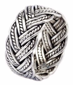 10mm Oxidize Rope Handcraft Weaving Band Ring in 925 Sterling Silver [ISR0028] #BKGjewelry #Band