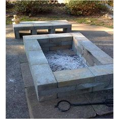 concrete block fire pit and bench