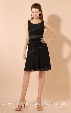Simple Style Straps Scoop Black Chiffon A-line
