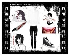 """Jeff The Killer"" by skye-plays-too-many-video-games ❤ liked on Polyvore featuring adidas Originals and Converse"