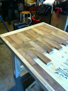 (AW) DIY Wood Plank Kitchen Table Picture Step By Step ~ Would Also Be  Really Really Awesome For Kitchen Counters! Stained Black With High Gloss  ...