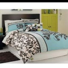 Roxy Bedding, Julia Comforter Sets - Bedding Collections - Bed & Bath - Macy's from Macys. Saved to For my room. Twin Comforter Sets, Teen Bedding, Teal Bedding Sets, Brown Comforter, Turquoise Bedding, College Bedding, Floral Bedding, Comforter Cover, Black Bedding